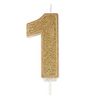 Kultainen kimalteleva numerokynttilä - numero 1 - 70mm