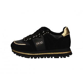 Tênis Sapato Liu-jo Wonder 13 Camurça Preta/ Mulher Dourada D21lj12