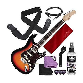 Tagima klassisk serie t-635 s-stil elgitarr, solburst med gitarrrem och tillbehör bunt