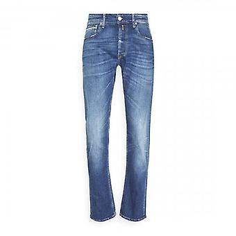 Replay Grover Rett Passform Midt Blå Vasket Denim Jeans MA972 573 810 009