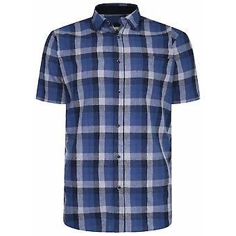PETER GRIBBY Peter Gribby Mens Big Size Linen Check Short Sleeve Shirt Indigo