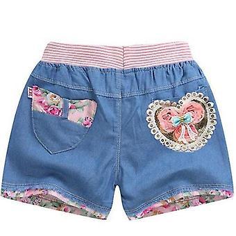 شورت بانتس- عارضة جينز قصير، جينز نمط مزدوج القلب للطفل