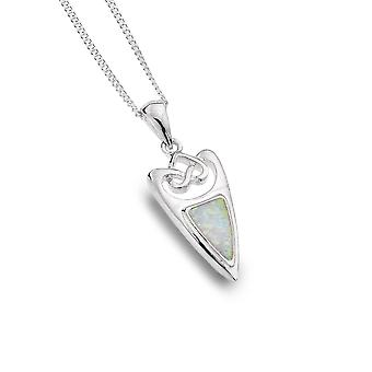 Sterling Silver Pendant Necklace - Celtic Knot + Synthetic Opal Trinity