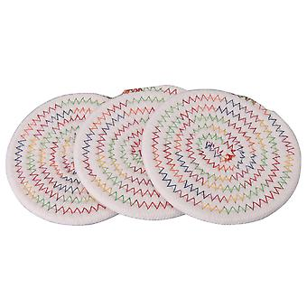 Round Cotton Thread Weave Hot Pot Holders Pads 4.72x0.27inch Pack of 3