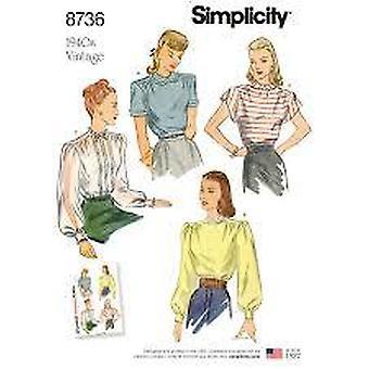 תבניות תפירה פשטות 8736 1940s מתגעגע וינטג חולצה גודל 16-24