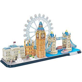 HanFei 3D Puzzle UK London CityLine - Tower Bridge, Big Ben, Buckingham Palace, London Eye, Queen