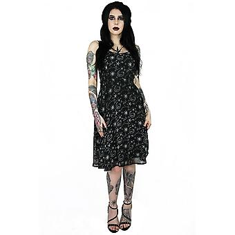 Coven United Moon Print Crossover Neck Dress
