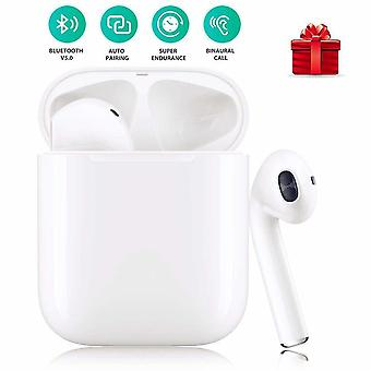 I12 Wireless Bluetooth Touch Headset, Auto Pop-up Headset In-Ear Headphones Wireless Stereo Headset with Deep Bass IPX6 Waterproof Headset for iOS / Android-White