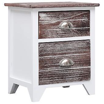 vidaXL Yöpöytä Ruskea ja valkoinen 38×28×45 cm Paulownia Wood