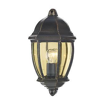 DAR NEWPORT Laterne Outdoor Wand Licht Schwarz Gold IP43
