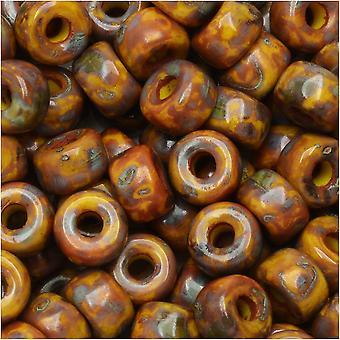 Tjeckisk glasmatubo, 2/0 fröpärla, 20 gram rör, gul mörk travertin