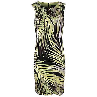 Frank Lyman Black & Green Sleeveless Palm Print Dress