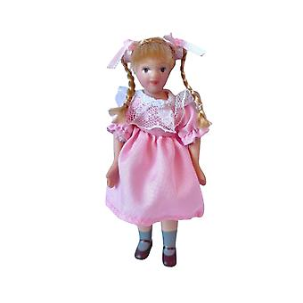 Dolls House Little Girl In Traditional Pink Dress Porcelain 1:12 Scale People