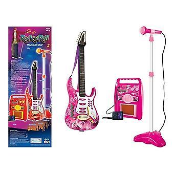 Barnmusikuppsättning gitarr med förstärkare och mikrofon - rosa