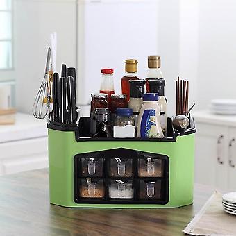 Multi Function Kitchen Chopper Spoon Rack Seasoning Box Seasoning Jar Storage Chopsticks(Green)