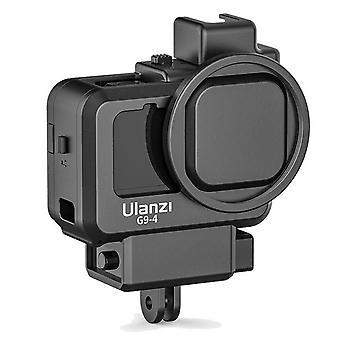 Ulanzi g9-4 العمل vlog قفص الكاميرا الإسكان واقية مع الحذاء البارد المزدوج جبل 55mm محول مرشح لبطل gopro 9