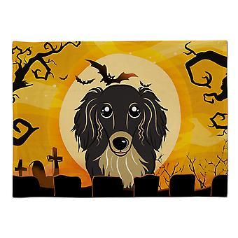 Caroline's Treasures BB1771PLMT Halloween Langhaar Schwarz Und Tan Dackel Stoff Tischset, Multicolor