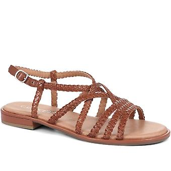 Caprice Womens Woven Leather Gladiator Sandals