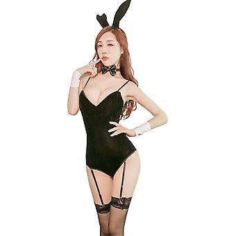 Sexy pleuche underwear set rabbit girl sling one-piece open crotch garter stockings for lady