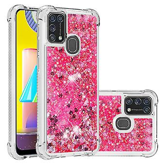 Case For Samsung Galaxy M31 Bumper Cover Sparkly Glitter Bling Flowing Liquid -pink