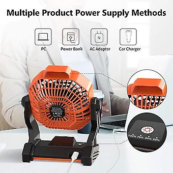 Portable camping fan with led lights, usb powered battery table fan for desk, tent fan for outdoor, home, office, travel