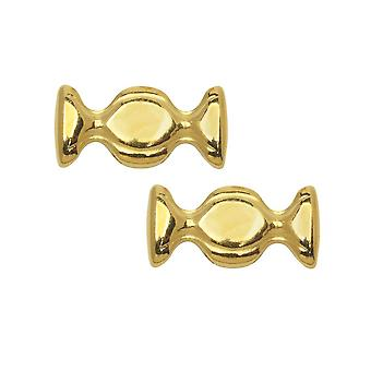 Cymbal Bead Connectors for Ginko Beads, Dialiskari, 8.5x17.5mm, 2 Pieces, 24k Gold Plated