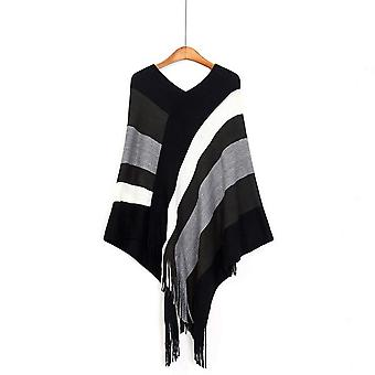 Stripes Loose Sweater Coat With Tassel Batwing Pullover Knitting Cape For Lady
