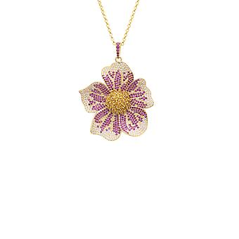 Pansy Flower Pink Necklace Gold