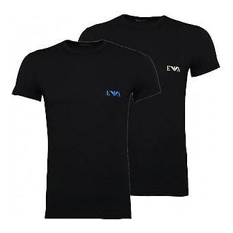 Men's Short Sleeve T-Shirt Armani Jeans 111670 9P715 17020 Black (2 pcs)