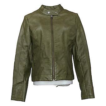SkinnyGirl Women's Faux Leather Moto Jacket Green 672197