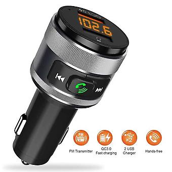 Fm Bluetooth Transmitter Adapter Vorstik Qc3.0 Usb Car Charger Wireless Hands-free Adapter Radio Dual Usb Drive-charger With Led Screen For Ios And An