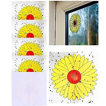 16pcs نافذة يطير الفخاخ، عباد الشمس نمط نافذة يطير ملصقات، ذباب الحشرات الزبور الآفات القاتل - 4 حزم X 4 الفخاخ كل حزمة