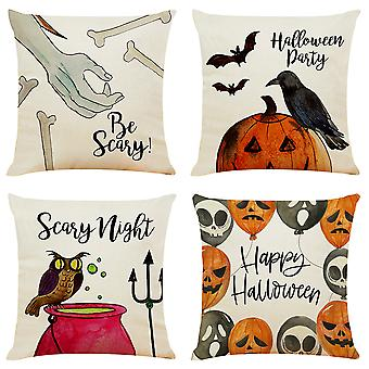 """Mile 4 Pieces Halloween Pillow Case, Happy Halloween Linen Sofa Bed Throw Cushion Cover Decoration (18"""" X 18"""")"""