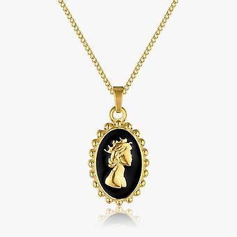 Enamel Portrait Queen Elizabeth Necklace Stainless Steel Elizabeth Coin Necklace For Necklaces