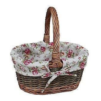 Garden Rose Lined Childs Country Oval Wicker Shopping Basket