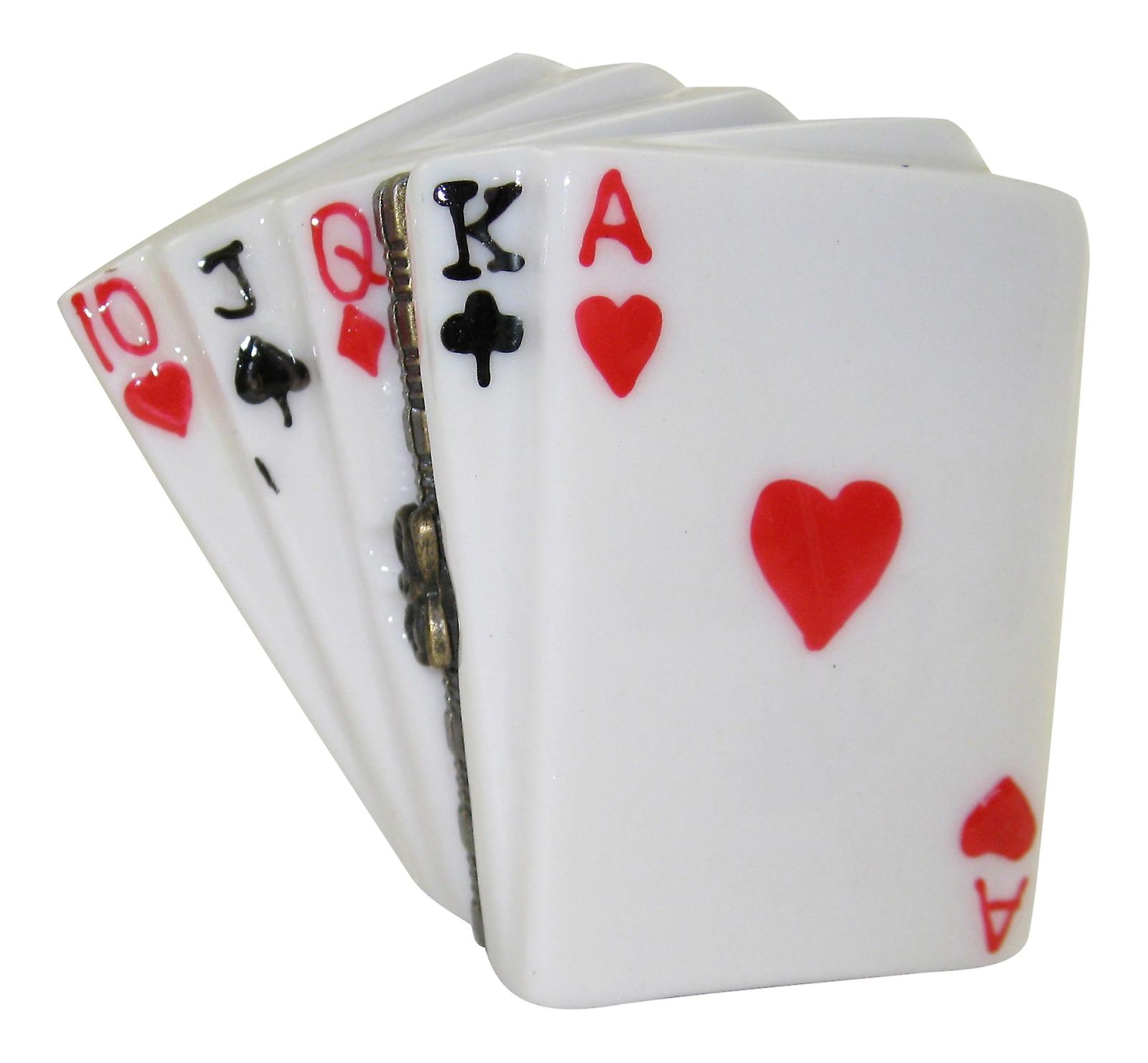 Poker Hand Straight Winner Playing Cards Porcelain Hinged Trinket Box