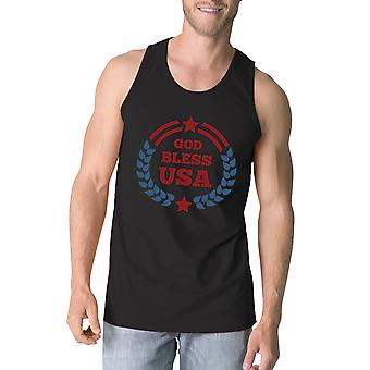 God Bless USA Mens Black Cotton Tank Top Independence Day Gift Idea