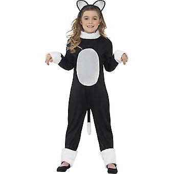 Kostüm Coole Katze mit Einteiler Schwanz und Kopfteil Gr. S