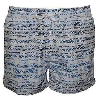 Just Cavalli Allover Logo Print Swim Shorts, White/Denim
