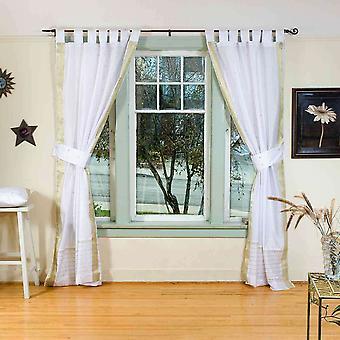 Indo White w/ golden trim Tab Top Sari Sheer Curtain (43 in.X84 in.) w/ tieback