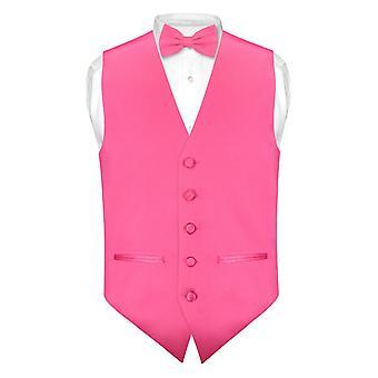 Mens SLIM Vestido de ajuste chaleco lazo pajarita corbata pañuelo Set