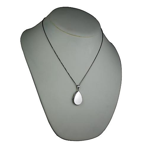 9ct White Gold 28x19mm plain flat teardrop Locket with a spiga Chain 20 inches