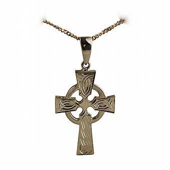 9ct золота 35x24mm ручной гравировкой узел шаблон кельтский крест с залог на обочине цепи 18 дюймов