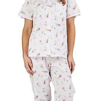 Slenderella PJ1207 レディース花柄ピンク綿 100% パジャマ ショート長袖パジャマ セット