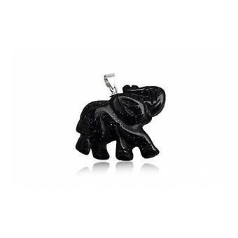 Слон женщина в Кулон драгоценный камень песчаник черный и серебро 925