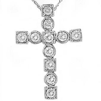 1ct religiöse Diamond Cross Phantasie 14K neue Anhänger Weißgold