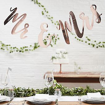 Mr and Mrs Rose Gold Bunting Backdrop - Botanical Boho Wedding Decoration 1.5m