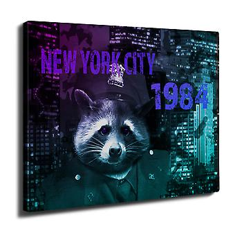 NY Racoon Officer Animal Wall Art Canvas 40cm x 30cm | Wellcoda