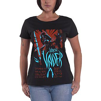 Official Womens Star Wars T Shirt Darth Vader Rock Poster New Black Skinny Fit
