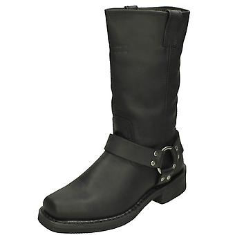 Mens Harley Davidson Biker Boots Hustin D95354 - Black Leather - UK Size 6 - EU Size 40 - US Size 8